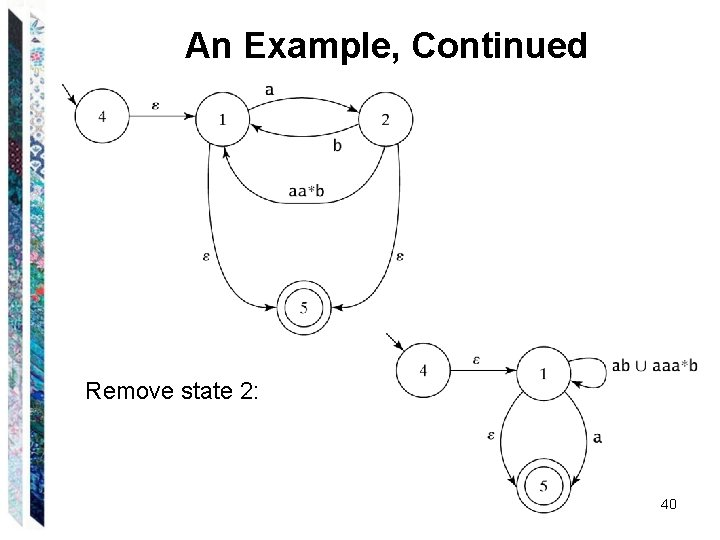 An Example, Continued Remove state 2: 40