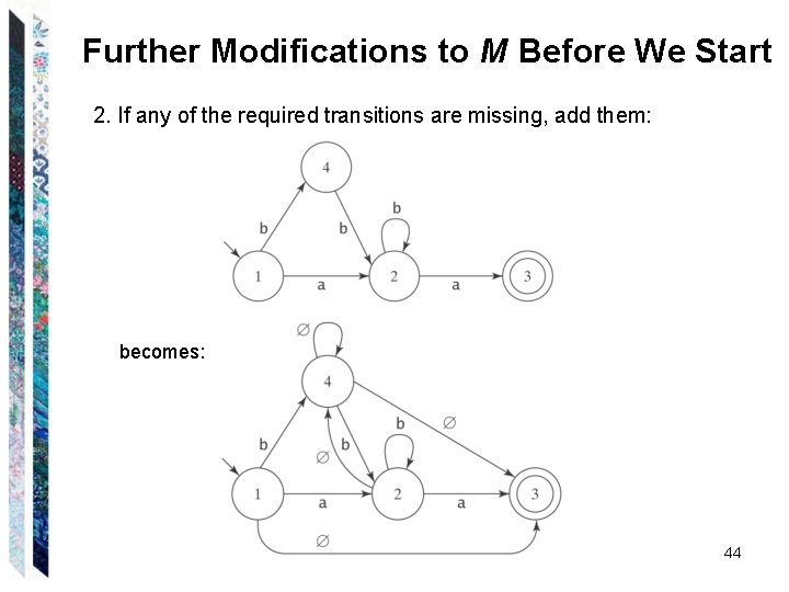 Further Modifications to M Before We Start 2. If any of the required transitions
