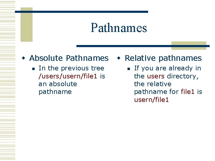 Pathnames w Absolute Pathnames w Relative pathnames n In the previous tree /users/usern/file 1