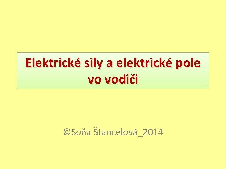 Elektrické sily a elektrické pole vo vodiči ©Soňa Štancelová_2014