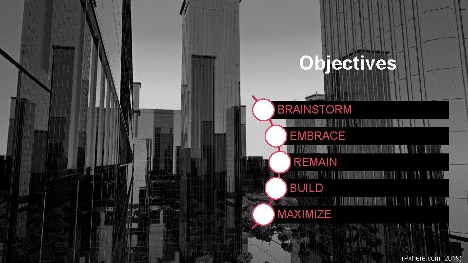 Objectives BRAINSTORM EMBRACE REMAIN BUILD MAXIMIZE (Pxhere. com, 2019)