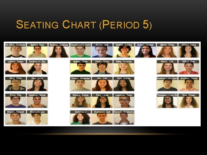 SEATING CHART (PERIOD 5)