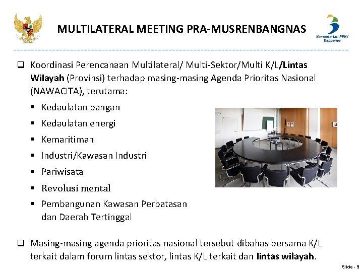 MULTILATERAL MEETING PRA-MUSRENBANGNAS q Koordinasi Perencanaan Multilateral/ Multi-Sektor/Multi K/L/Lintas Wilayah (Provinsi) terhadap masing-masing Agenda