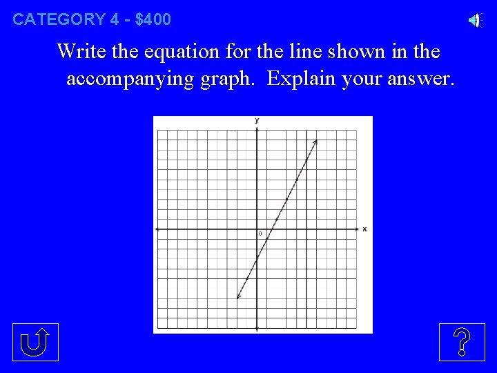 CATEGORY 4 - $400 Write the equation for the line shown in the accompanying