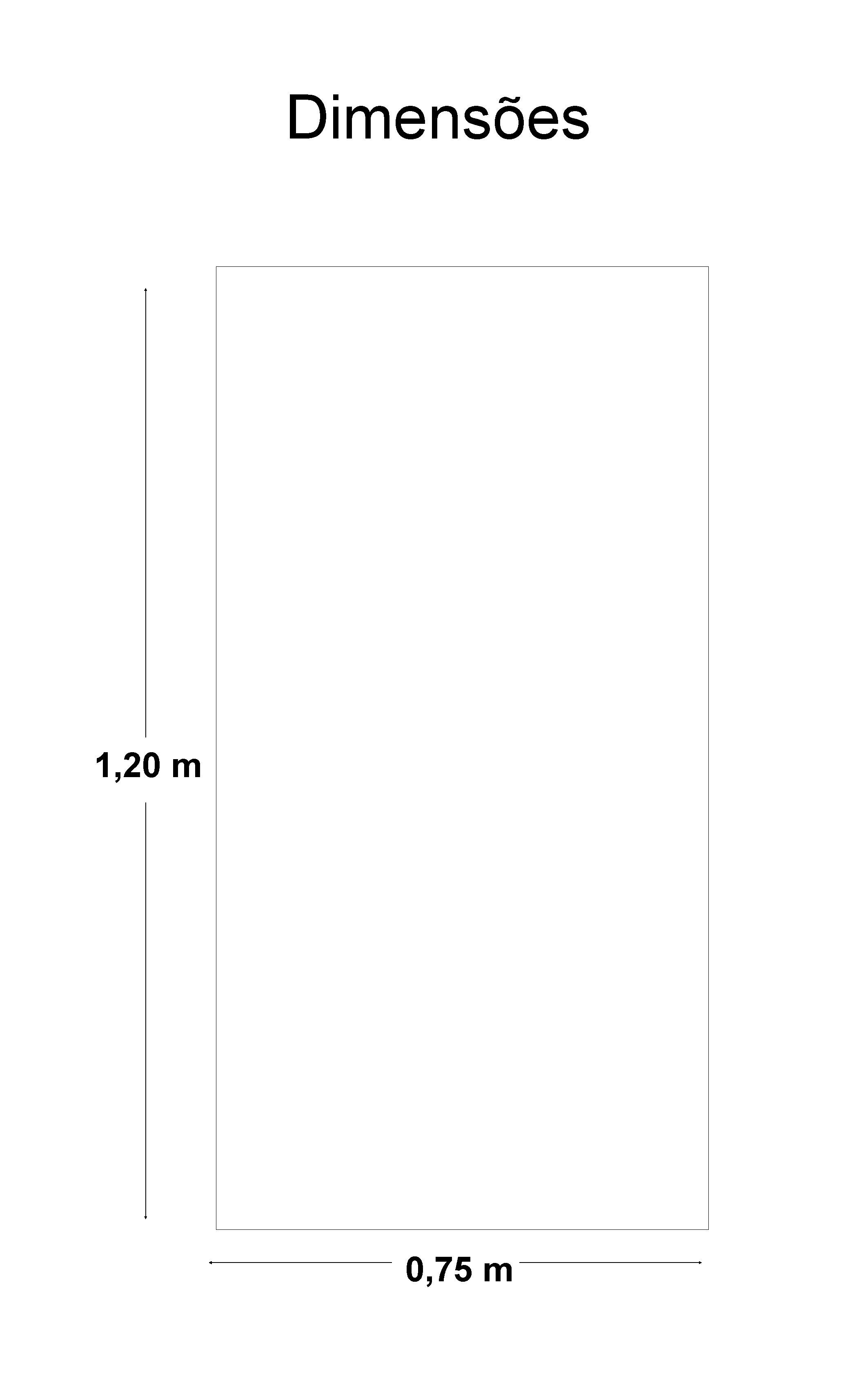 Dimensões 1, 20 m 0, 75 m