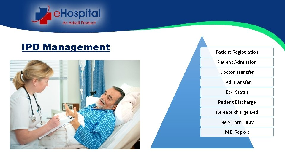 IPD Management Patient Registration Patient Admission Doctor Transfer Bed Status Patient Discharge Release charge