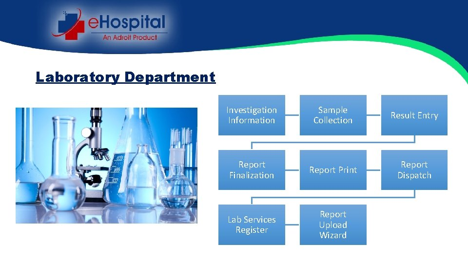 Laboratory Department Investigation Information Sample Collection Result Entry Report Finalization Report Print Report Dispatch