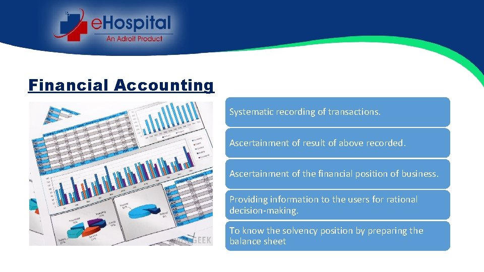 Financial Accounting Systematic recording of transactions. Ascertainment of result of above recorded. Ascertainment of