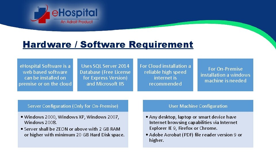 Hardware / Software Requirement e. Hospital Software is a web based software can be