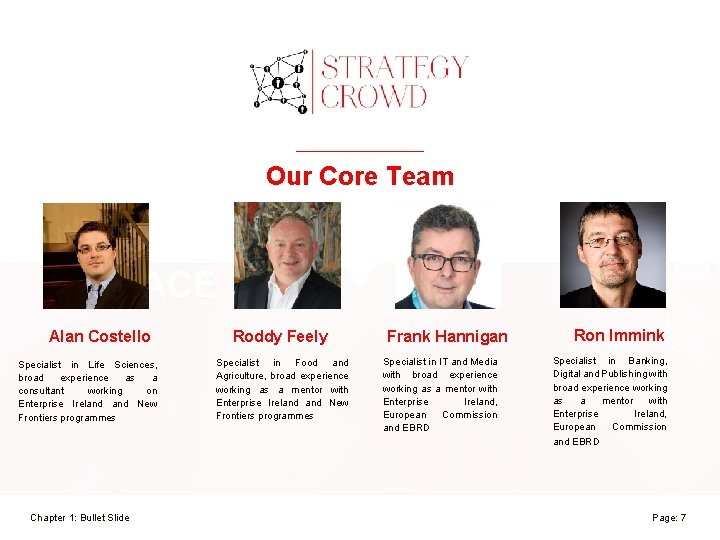 Our Core Team REPLACE Alan Costello Specialist in Life Sciences, broad experience as a