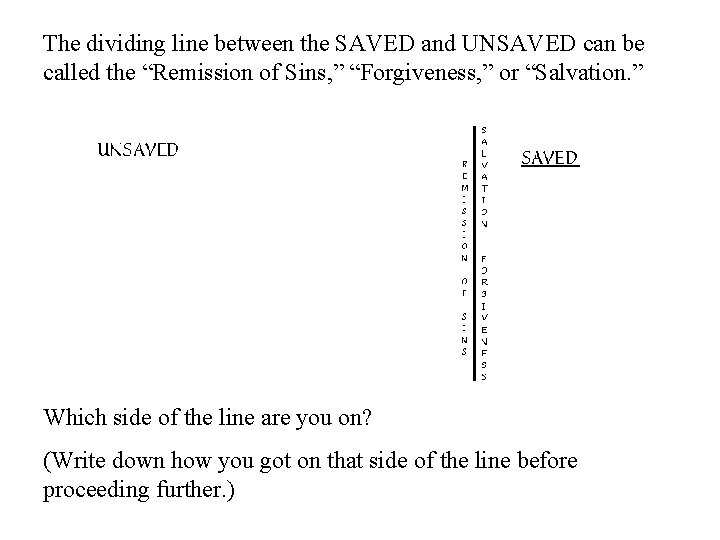 """The dividing line between the SAVED and UNSAVED can be called the """"Remission of"""