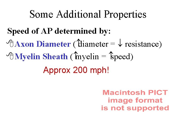 Some Additional Properties Speed of AP determined by: 8 Axon Diameter ( diameter =