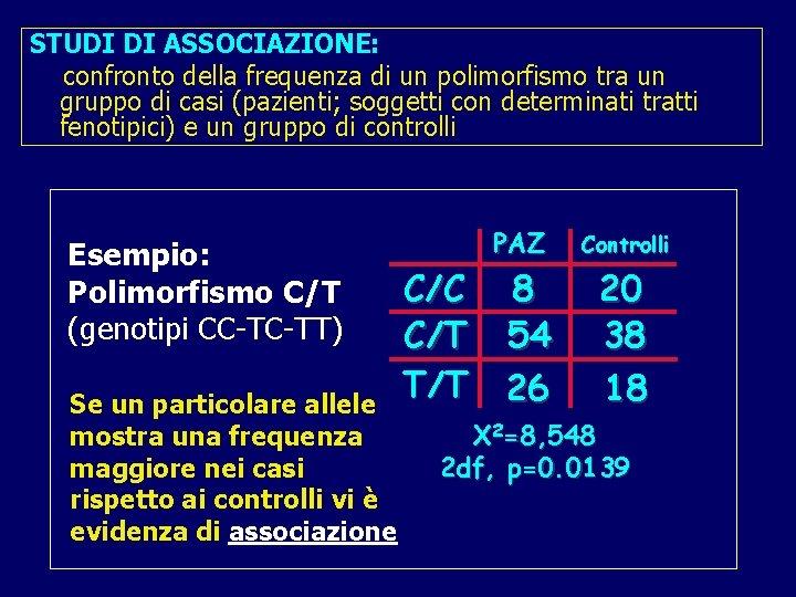 STUDI DI ASSOCIAZIONE: confronto della frequenza di un polimorfismo tra un gruppo di casi