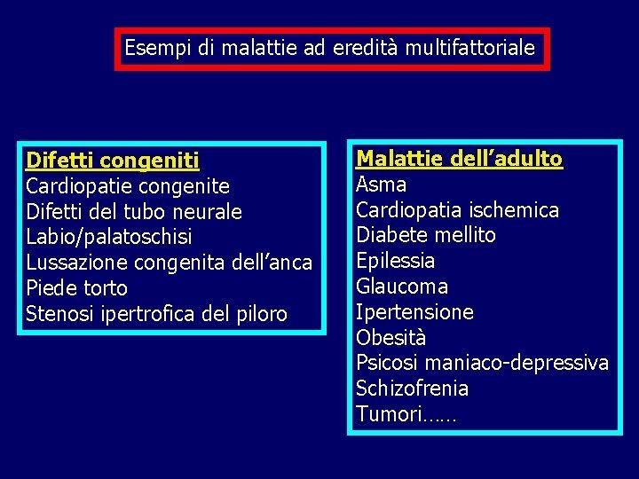 Esempi di malattie ad eredità multifattoriale Difetti congeniti Cardiopatie congenite Difetti del tubo neurale