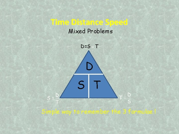 Time Distance Speed Mixed Problems D=S T D S T Simple way to remember