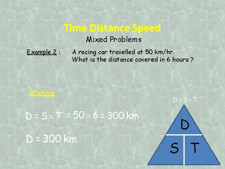 Time Distance Speed Mixed Problems Example 2 : A racing car travelled at 50