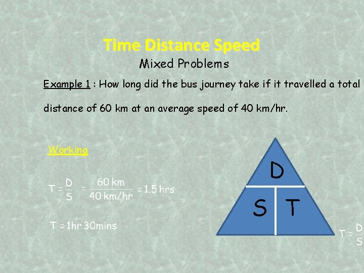 Time Distance Speed Mixed Problems Example 1 : How long did the bus journey