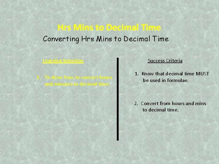 Hrs Mins to Decimal Time Converting Hrs Mins to Decimal Time Learning Intention 1.