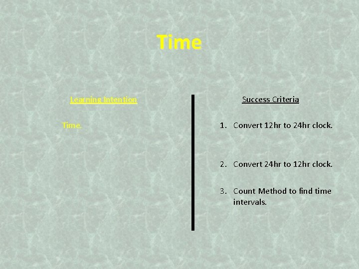 Time Learning Intention Time. Success Criteria 1. Convert 12 hr to 24 hr clock.