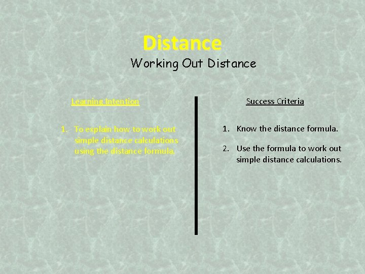 Distance Working Out Distance Learning Intention 1. To explain how to work out simple