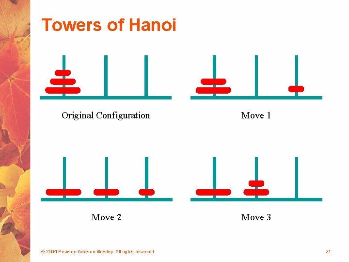 Towers of Hanoi Original Configuration Move 1 Move 2 Move 3 © 2004 Pearson