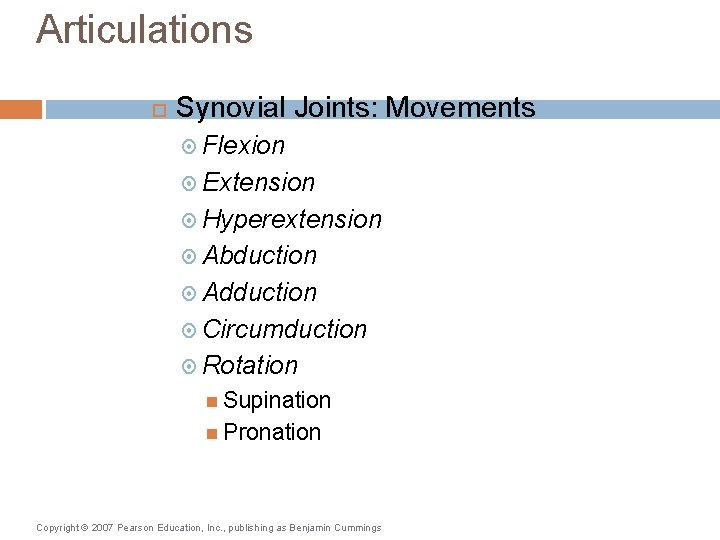 Articulations Synovial Joints: Movements Flexion Extension Hyperextension Abduction Adduction Circumduction Rotation Supination Pronation Copyright