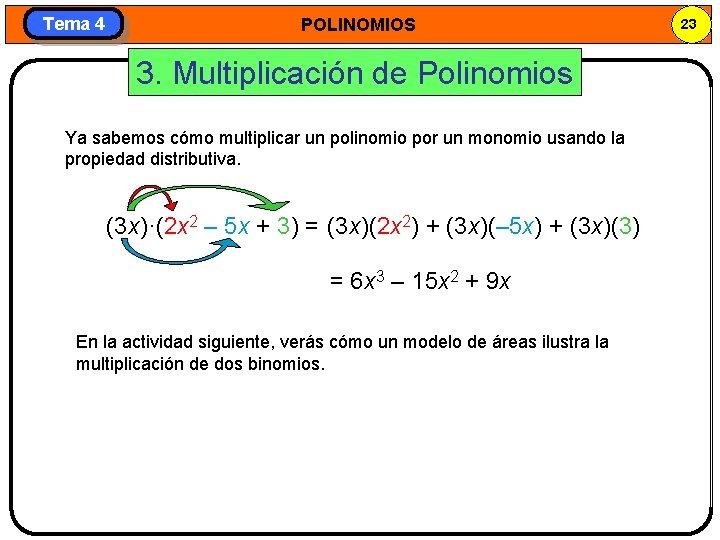 Tema 4 POLINOMIOS 3. Multiplicación de Polinomios Ya sabemos cómo multiplicar un polinomio por
