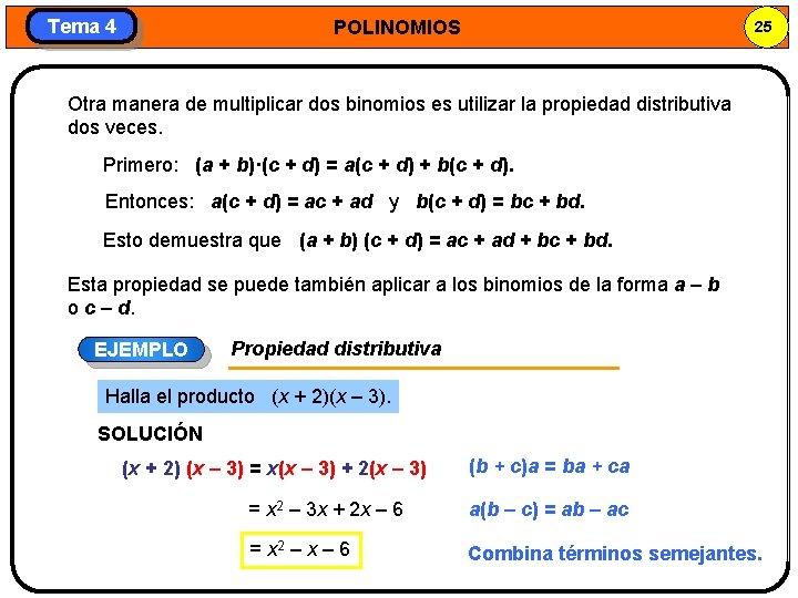 Tema 4 POLINOMIOS 25 Otra manera de multiplicar dos binomios es utilizar la propiedad