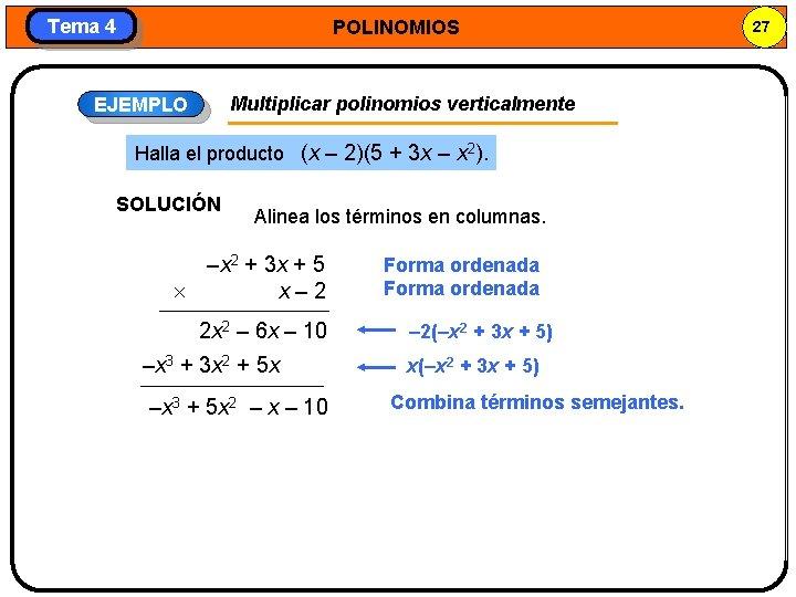 Tema 4 POLINOMIOS Multiplicar polinomios verticalmente EJEMPLO Halla el producto (x – 2)(5 +