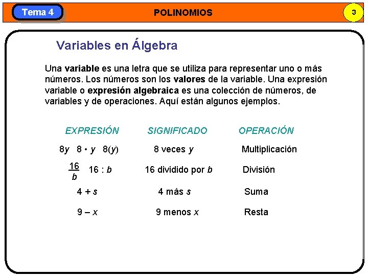 Tema 4 POLINOMIOS 3 Variables en Álgebra Una variable es una letra que se