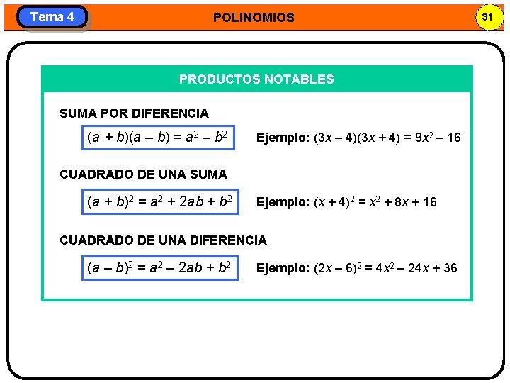 Tema 4 POLINOMIOS PRODUCTOS NOTABLES SUMA POR DIFERENCIA (a + b)(a – b) =
