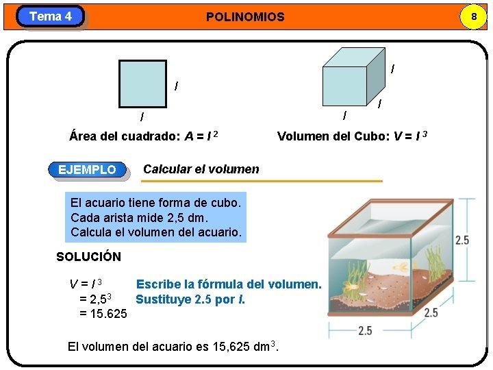 Tema 4 POLINOMIOS 8 l l Área del cuadrado: A = l 2 EJEMPLO
