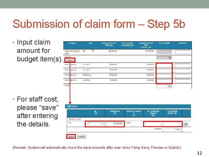 Submission of claim form – Step 5 b • Input claim amount for budget