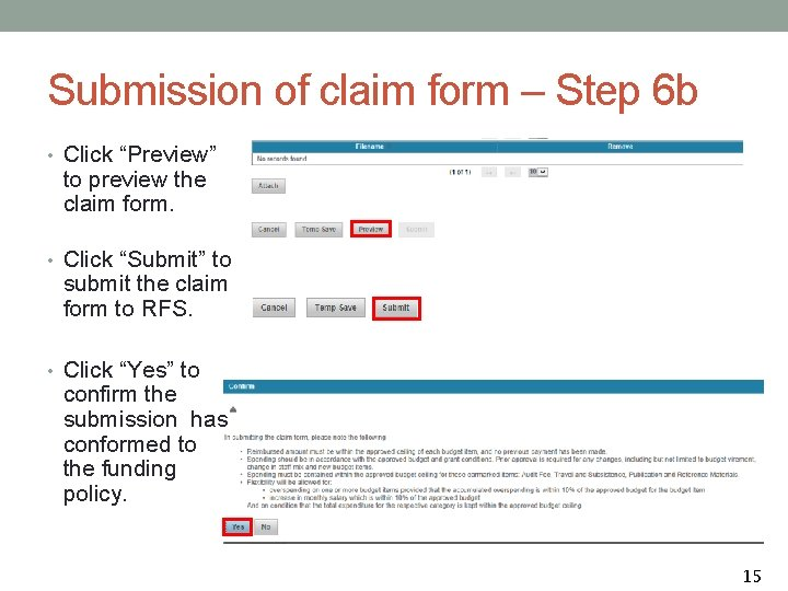 """Submission of claim form – Step 6 b • Click """"Preview"""" to preview the"""