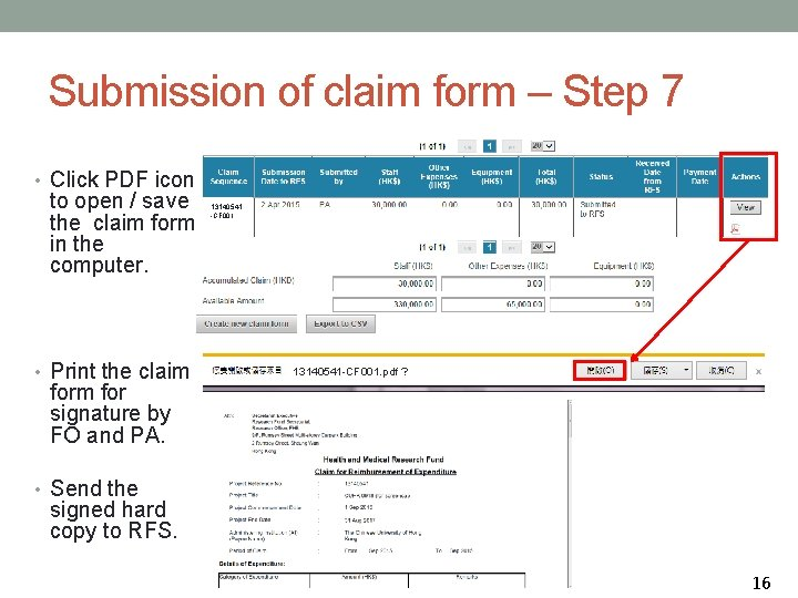 Submission of claim form – Step 7 • Click PDF icon to open /
