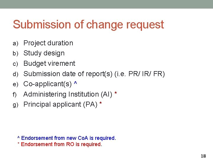 Submission of change request a) Project duration b) Study design c) Budget virement d)