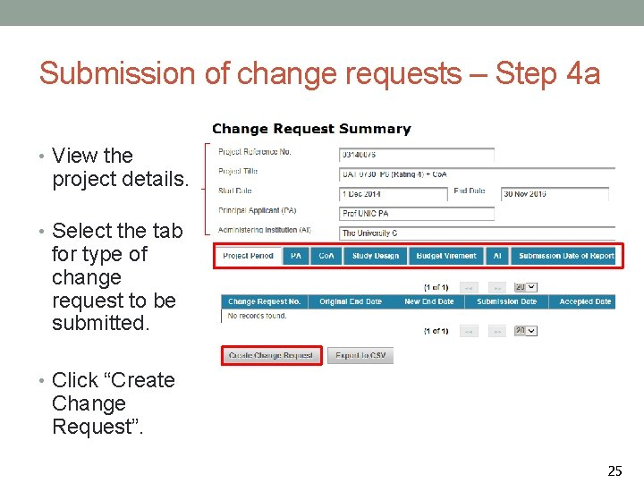 Submission of change requests – Step 4 a • View the project details. •