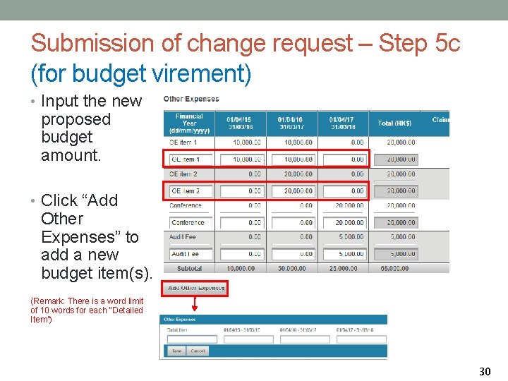 Submission of change request – Step 5 c (for budget virement) • Input the