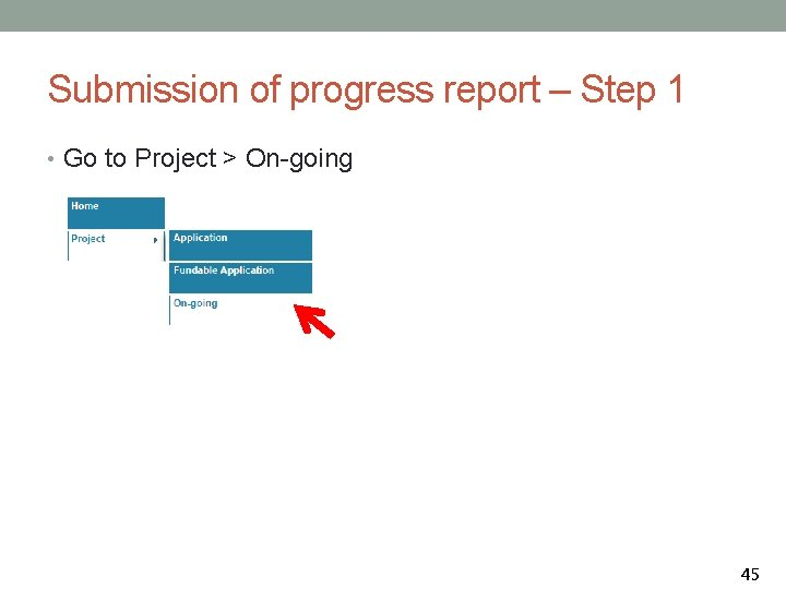 Submission of progress report – Step 1 • Go to Project > On-going 45