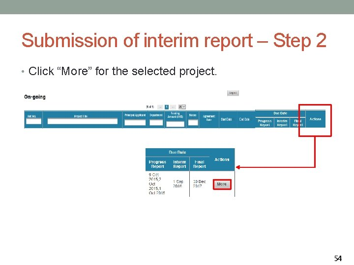 """Submission of interim report – Step 2 • Click """"More"""" for the selected project."""