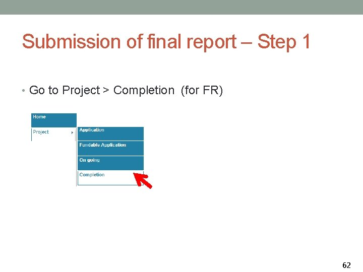 Submission of final report – Step 1 • Go to Project > Completion (for