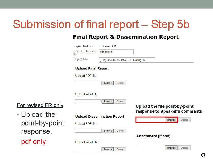 Submission of final report – Step 5 b Report Ref. No. For revised FR