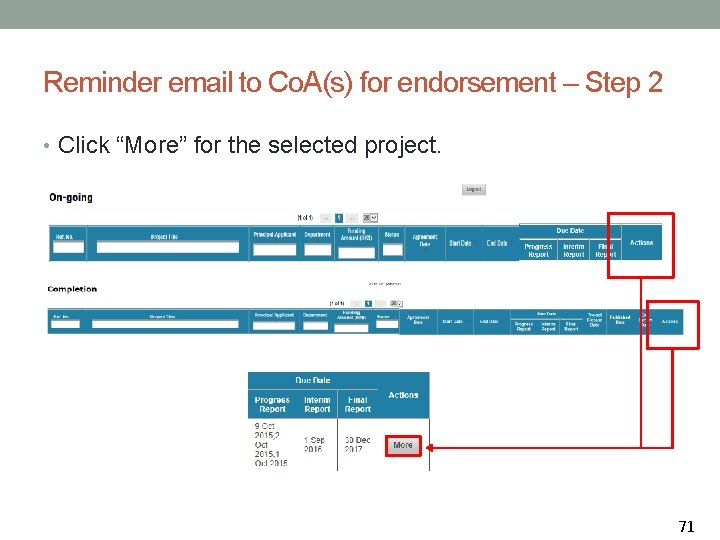 """Reminder email to Co. A(s) for endorsement – Step 2 • Click """"More"""" for"""