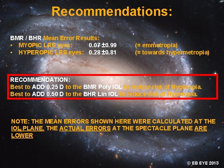 Recommendations: BMR / BHR Mean Error Results: • MYOPIC LRS eyes: 0. 07 ±