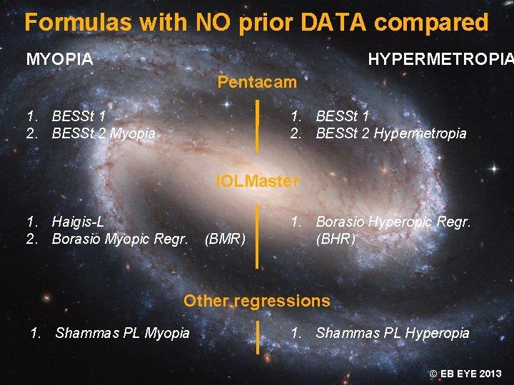 Formulas with NO prior DATA compared MYOPIA HYPERMETROPIA Pentacam 1. BESSt 1 2. BESSt