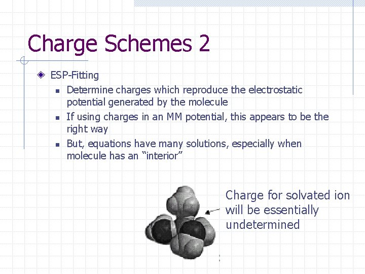 Charge Schemes 2 ESP-Fitting n Determine charges which reproduce the electrostatic potential generated by
