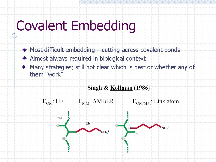 Covalent Embedding Most difficult embedding – cutting across covalent bonds Almost always required in