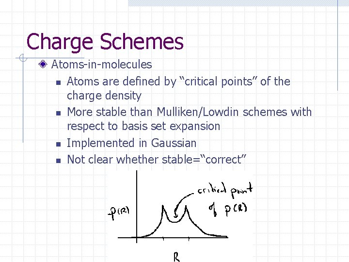 """Charge Schemes Atoms-in-molecules n Atoms are defined by """"critical points"""" of the charge density"""