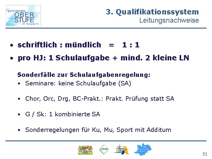 3. Qualifikationssystem Leitungsnachweise • schriftlich : mündlich = 1: 1 • pro HJ: 1