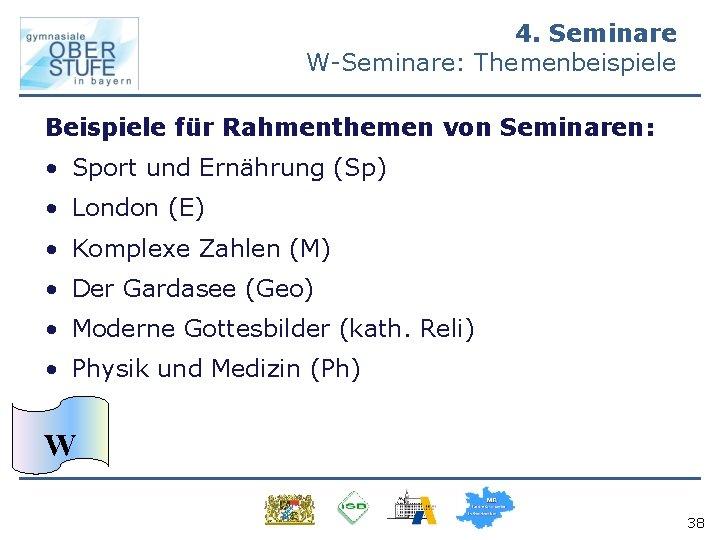 4. Seminare W-Seminare: Themenbeispiele Beispiele für Rahmenthemen von Seminaren: • Sport und Ernährung (Sp)